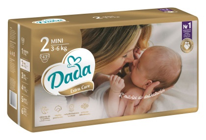 Подгузники DADA extra-care 2 MINI / 3-6кг / 43шт