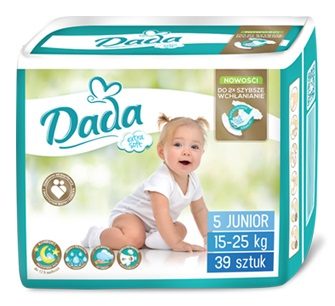 Подгузники DADA extra-soft 5 JUNIOR / 15-25кг / 39шт